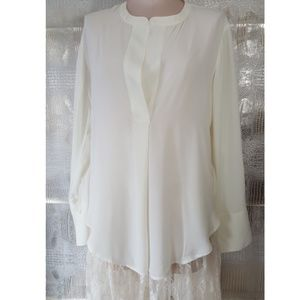Banana Republic  white high low blouse medium NWT